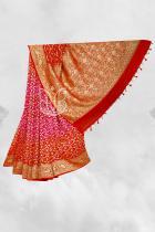 Red and Pink Pure Khaddi Silk Georgette Banarasi Bandhej Handloom Saree