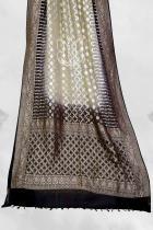 Black and Offwhite Pure Khaddi Georgette Banarasi Bandhej Handloom Saree