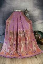 Carnation Pink Pure Tussar Georgette Silk Banarasi Handloom Saree