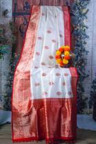 WHITE AND RED KADHIYAL KATAN SILK BANARASI HANDLOOM SAREE