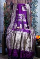 Dancing Doll Purple Pure Katan Silk Handloom Saree