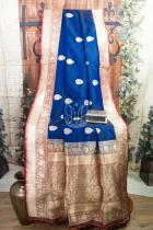 Royal Blue and Maroon Pure katan Silk Banarasi Handloom Saree