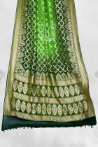 Green  Pure Khaddi Silk Georgette Banarasi Bandhej Handloom Saree