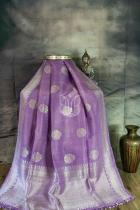 Lavender Pure Tussar Georgette Silk Banarasi Handloom Saree