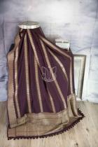 Coke Brown Pure Tussar Georgette Silk Banarasi Handloom Saree