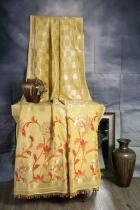 Yellow and Red Pure Tussar Georgette Silk Banarasi Handloom Saree